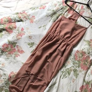High Low Taupe Pink Dress